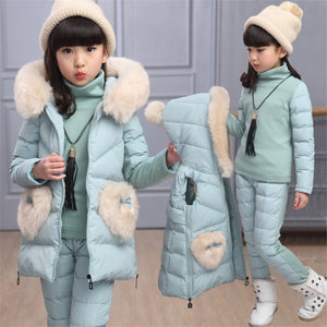 2019 new children's clothing fall winter girl new three-piece suit cotton padded jacket