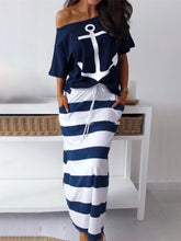 Load image into Gallery viewer, 2019 Summer New Fashion Elegant Vacation Leisure Suit Sets Ladies Stylish Boat Anchor Print T-Shirt & Striped Maxi Skirt Sets