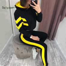 Load image into Gallery viewer, 2019 Spring Autumn Women 2 Pieces Sets Stripe Spliced Sweatshirt Ankle Length Harm Pants Oversize Tracksuits Hoodies Outfiits