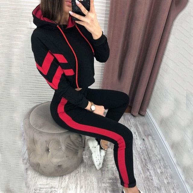 2019 Spring Autumn Women 2 Pieces Sets Stripe Spliced Sweatshirt Ankle Length Harm Pants Oversize Tracksuits Hoodies Outfiits