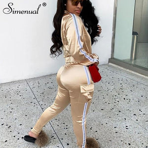 Simenual Neon Reflective Lines Matching Sets Women Casual Active Wear 2 Piece Outfits Satin Zipper Fashion Jacket And Pants Set