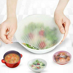 4pcs/set plastic zero waste silicone food bag Wraps Seal Cover reusable Vacuum Lid Stretch and fresh bees wax wrap Kitchen Tools