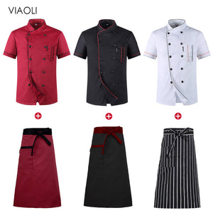 Chef Uniform Shirt Breathable Double Breasted Jacket+cap+apron works clothes for  Unisex