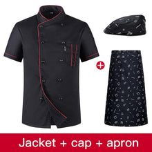 Load image into Gallery viewer, Chef Uniform Shirt Breathable Double Breasted Jacket+cap+apron works clothes for  Unisex