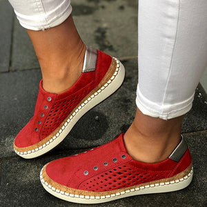 Women  Vulcanize Sneakers  Casual Breathable   Soft Leather  Flats  Sneakers