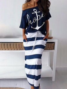 2019 Summer New Fashion Elegant Vacation Leisure Suit Sets Ladies Stylish Boat Anchor Print T-Shirt & Striped Maxi Skirt Sets
