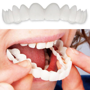 HOT 2Pcs Comfort Fit Flex White Fake Teeth Top Veneer Denture for Men Women Oral Supplies Orthodontic Braces