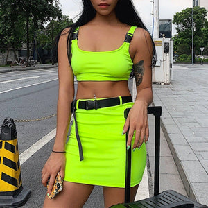 Women Summer Two Pieces Set Crop Tops And Short Skirts Sets Fashion Neon Green Solid Casual Sexy Outfit With Belt 2PCS Suits Set
