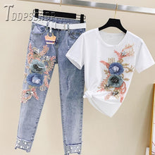Load image into Gallery viewer, 2019 Summer Beading Women Sets T Shirt and Jeans Female Sets