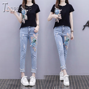 2019 Summer Beading Women Sets T Shirt and Jeans Female Sets