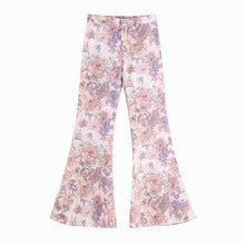 Load image into Gallery viewer, Women Sets Summer 2019 New Fashion Sunscreen Transparent Floral Prints Chiffon Long Shirts and Flare Pants
