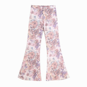 Women Sets Summer 2019 New Fashion Sunscreen Transparent Floral Prints Chiffon Long Shirts and Flare Pants