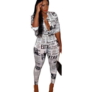2019 New Two Piece Outfit Women Set Fashion Newspaper Letter Print Blouses Shirts and Pencil Pants Suit vVintage Tracksuit