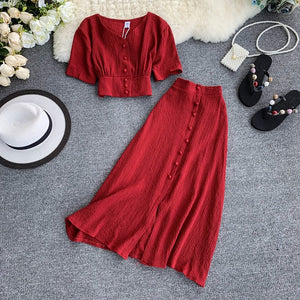 MUMUZI Fashion women outfits 2019 short design front buttons tops and long skirt 2pcs set solid color side open skirt and blouse