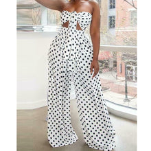 Load image into Gallery viewer, 2PCS Women Polka Dot Outfits Jumpsuits Wrap Chest Crop Tops + Wide Leg Long Pants Casual Summer Beach Jumpsuit Romper