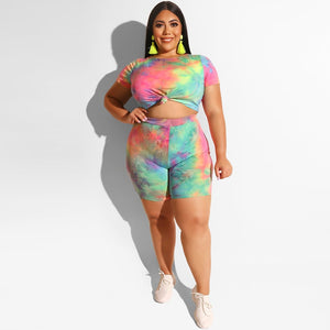 Laughido Plus Size Tie Dyeing Women's Set Women Short Sleeve Crop Tops And High Waist Shorts 2 Piece Sets Tracksuit Casual Suits