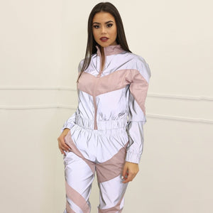 Women Tracksuits 2 Piece Set Reflective Zipper Crop Top Pants Hip Hop Fashion Female Loose Shine Jacket Coat Trousers Plus Size