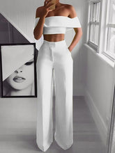 Load image into Gallery viewer, Hot Summer Woman Two-pieces Set Solid Color Ladies Fashion Suits Work Short Top + Loose Pants Sets for Woman Casual