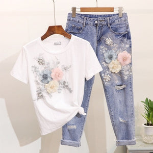 Women Summer Casual Suits 2019 Embroidery 3D Flower O-neck Short Sleeve Tshirts + Hole Ankle-length Pants 2pcs Clothing Sets