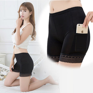 Sexy Female Safety Shorts Pants Plus Size Underwear Under With Pockets Lace Under Skirt Safety Shorts Pants Thigh Briefs Woman