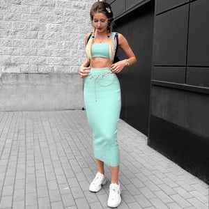 Dulzura 2019 summer women two piece set skirt set crop top tops sexy knitted festival party tracksuit clothes streetwear elegant
