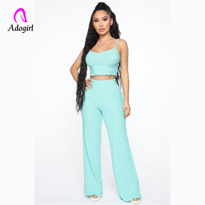 Adogirl 2 Piece Set Women Solid Off The Shoulder Camis Crop Top and Pants Sexy Female Pants Set Summer Women Set Matching Set