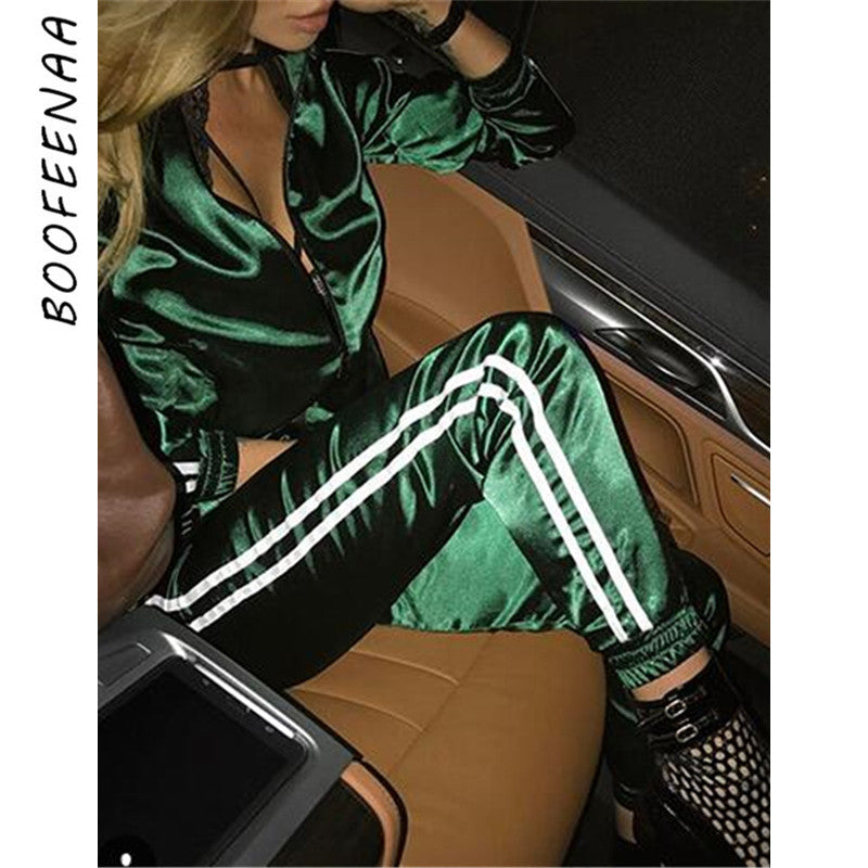 BOOFEENAA Fall 2019 Casaul Tracksuit Women 2 Piece Set Top And Pants Satin Striped Patchwork Zipper Sexy Sweatshirt Sweat Suit