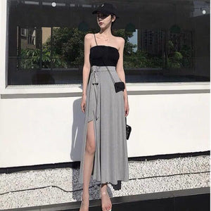 Summer Korean 2 Piece Set Clothes for Women Two Piece Outfits Set Pleated Tube Top + Lace-up Side Slit Pencil Skirt
