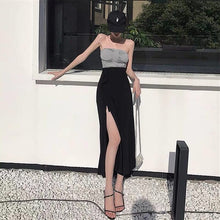 Load image into Gallery viewer, Summer Korean 2 Piece Set Clothes for Women Two Piece Outfits Set Pleated Tube Top + Lace-up Side Slit Pencil Skirt