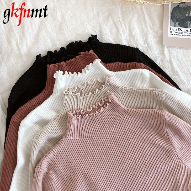 Turtleneck Ruched Women Sweater High Elastic 2019 Fall Winter Fashion Sweater  Pullovers Pink White
