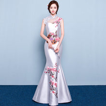 Load image into Gallery viewer, Fashion Wedding Party Cheongsam Oriental Evening Dress Chinese Style Women Elegant Qipao Sexy Long Robe Retro Vestido S-3XL