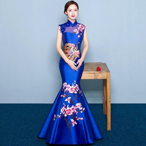 Fashion Wedding Party Cheongsam Oriental Evening Dress Chinese Style Women Elegant Qipao Sexy Long Robe Retro Vestido S-3XL