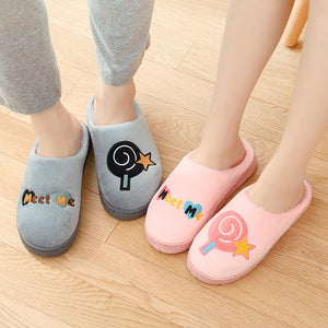 Male and female indoor floor plush warm cotton slippers winter  non-slip wear resistant