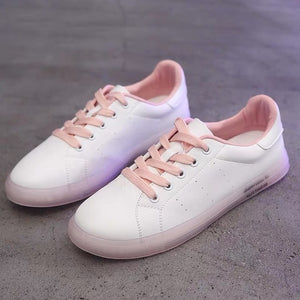 White Vulcanized Shoes Pu Transparent Sole Sneakers