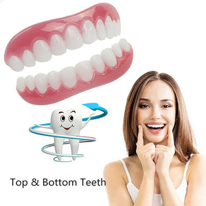 Silicone Teeth Veneers Cosmetic Teeth Snap On Secure Upper Lower Flex Dental Veneers Denture Care Fashion
