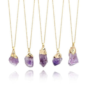 1Pc Natural Purple Amethyst Gemstone Pendant Quartz Crystal Point  Stone Necklace