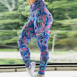 2019 Stretchy Gym Tights Energy Rainbow Print Seamless Leggings