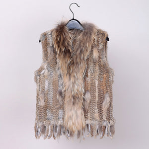 2020 new colors Women Genuine real Rabbit Fur Vest coat tassels Raccoon Fur collar Waistcoat  VR032
