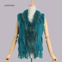 Load image into Gallery viewer, 2020 new colors Women Genuine real Rabbit Fur Vest coat tassels Raccoon Fur collar Waistcoat  VR032