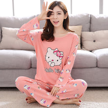 Load image into Gallery viewer, M-5XL Women Pajama Set Cotton Striped Cartoon Monkey Animal Sleepwear Pajamas Long-sleeve