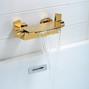 Brass cooper waterfall bathtub faucet matte black bath mixer hot and cold wall bath tap waterfall bath mixer