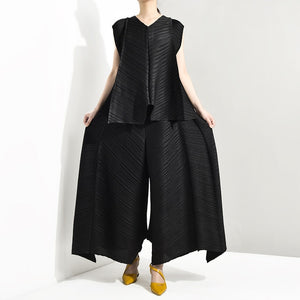 LANMREM 2019 Summer New Fashion Temperament Women Loose Plus Casual Pleated Sleeveless Vest Loose Wide Leg Pants Suit TC194