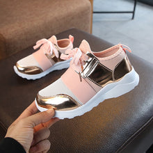 Load image into Gallery viewer, Kids Shoes Children Sneakers Girls Sport Shoes Fashion Sneakers Anti Slip Pink Cross-tied Kid Sneakers Casual Flat Shoes  D30