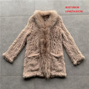 QC01 Free shipping women natural real  rabbit fur vest  waistcoat/jackets  rabbit knitted winter warm coat