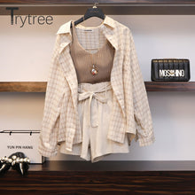 Load image into Gallery viewer, Trytree Summer Autumn Women Three piece sets Casual Linen Plaid Tops + Shorts Elastic Waist Wide Leg Pants Suit Set 3 Piece Set