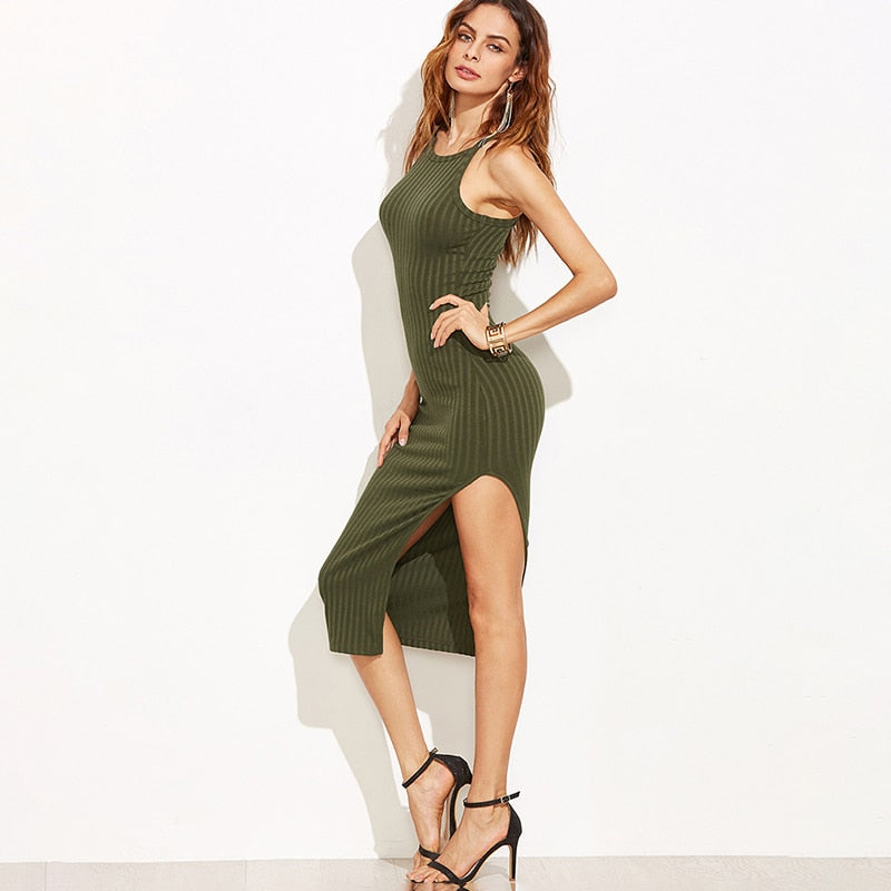 2019 Spring Autumn New Solid Color Women Fall Fashion Designer Side Slit Ribbed Midi Dress Sexy Bodycon Cami Dress