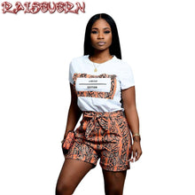Load image into Gallery viewer, RAISEVERN Women Fashion Snake Skin Two Piece Set Short Sleeve O-Neck Letter Print Casual T-Shirts+High Waist Sashes Woman Sets