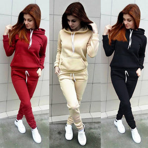 Women Hoodies Pants Clothing Set Casual 2 Piece Set Warm Up Tracksuit