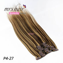 "Load image into Gallery viewer, MRS HAIR Clip In Hair Extensions 14"" 16"" 18"" 20"" 22"" 24"" Machine Made Remy Human Hair Clips Black Brown Blonde 100% Natural Hair"