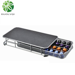 Duolvqi Coffee Pod Holder Storage Drawer Coffee Capsules Organizer for 40pcs Nespresso Capsules
